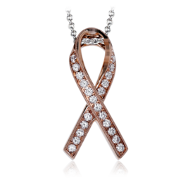 Simon G 18K Rose Gold Contemporary Ribbon Design Diamond Pendant image 2