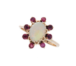 Vintage 14K Opal and Ruby Ring image 2