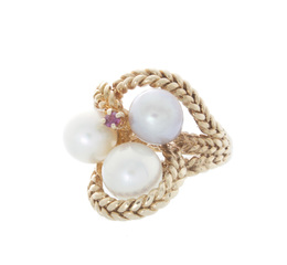Antique Estate Pearl and Ruby Ring image 2
