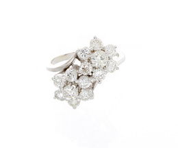 Vintage Estate Two Diamond Flower Ring image 2