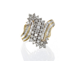 10K Yellow Gold Diamond Cluster Estate Ring image 2