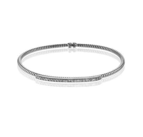 Simon G 18K White Gold Diamond Bangle Bracelet LB2151 image 2