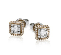 Simon G 18K Rose & White Gold Diamond Stud Earrings LE4452 image 2