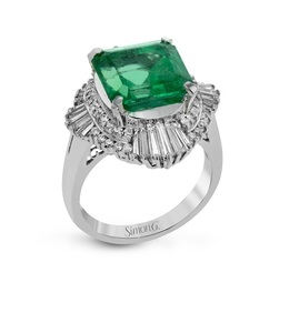 Simon G Platinum Emerald & Diamond Ring LR2114 image 2