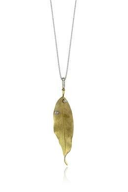 Simon G 18K Yellow Gold Diamond Leaf Pendant DP264 image 2