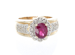 14K Yellow Gold Synthetic Ruby Diamond Ring image 2