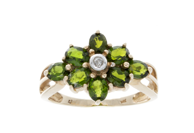 10K Yellow Gold Green Diopside Diamond Ring image 2