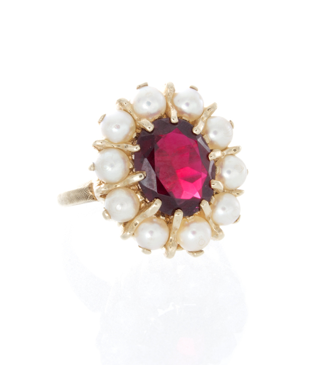 Synthetic Ruby and Pearl Estate Ring image 2
