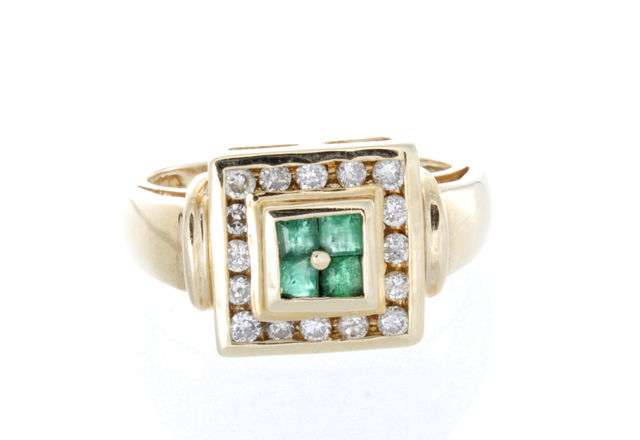 Emerald and Diamond Princess Estate Ring image 2