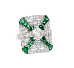 Emerald and Diamond Estate Ring image 2