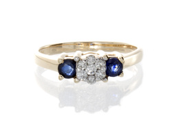 Diamond and Sapphire 3 Stone Estate Ring image 2