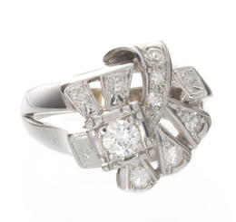 Stunning 14K White Gold Diamond Fashion Ring image 2