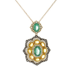 Emerald and Yellow Sapphire Pendant image 2