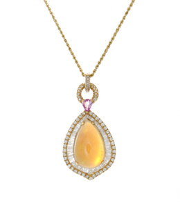 Opal and Diamond Pendant With Pink Sapphire Accent image 2