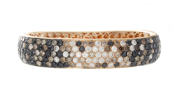 Black, Cognac and White Diamond Bangle image 2