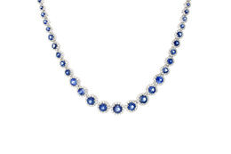 18K White Gold Sapphire and Diamond Necklace image 2