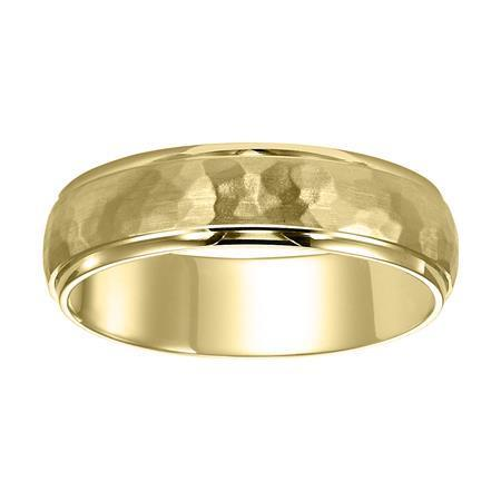 Polenza Gents Yellow Gold Hammered Finish Wedding Band image 2