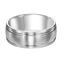Polenza Gents White Gold Satin Finish Wedding Band image 2