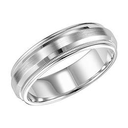 Polenza Gents White Gold Brushed And Milgrain Finish Wedding Band image 2