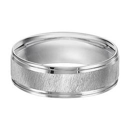 Polenza Gents White Gold Diagonal Satin Finish Wedding Band image 2
