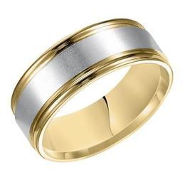 Polenza Gents Two-Tone Gold Brushed Finish Wedding Band image 2
