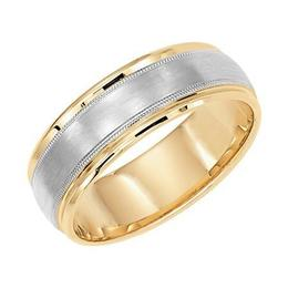 Polenza Gents Two-Tone Milgrain Accent Wedding Band image 2