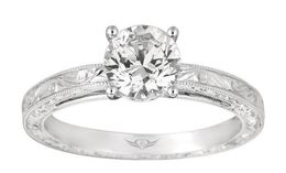 Martin Flyer 14k Engraved Solitaire Engagement Ring image 2