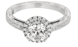 Martin Flyer Round Halo Engagement Ring with Engraved Band image 2