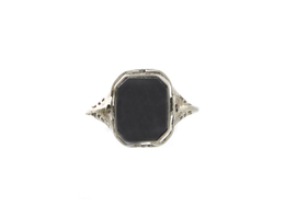 Estate Onyx and Opal Doublet Flip Ring image 2