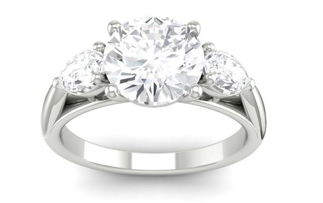 Martin Flyer Three Stone Engagement Ring Pear Sides image 2