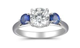 Martin Flyer Diamond and Sapphire Three Stone Ring image 2