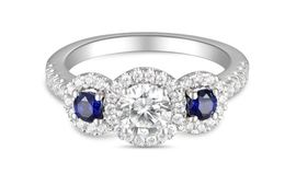 Martin Flyer Three Stone Halo Ring with Sapphire Sides image 2