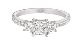 Martin Flyer Three Stone Princess Cut Engagement Ring image 2