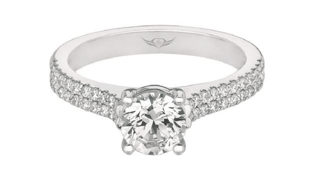 Martin Flyer Two Pave Row Diamond Engagement Ring image 2