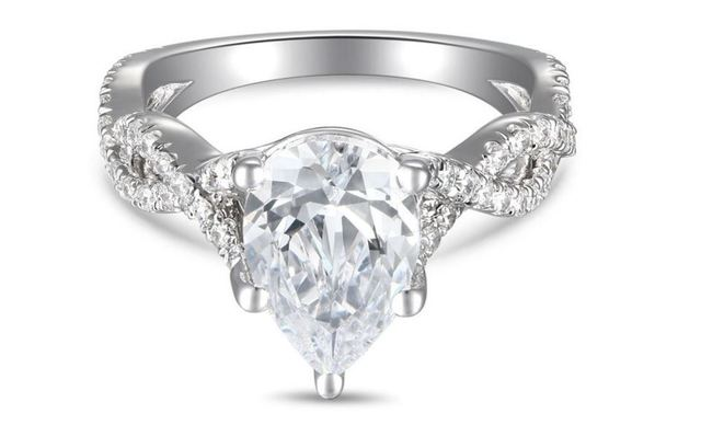 Martin Flyer Twisted Diamond Band Pear Engagement Ring image 2