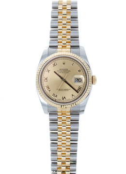 Rolex Pre - Owned 36mm Two Tone Datejust with Champagne Roman Dial image 2