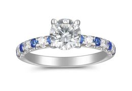 Martin Flyer Diamond and Sapphire Engagement Ring image 2