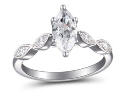 Martin Flyer Marquise Engagement Ring with Marquise Shaped Sides image 2
