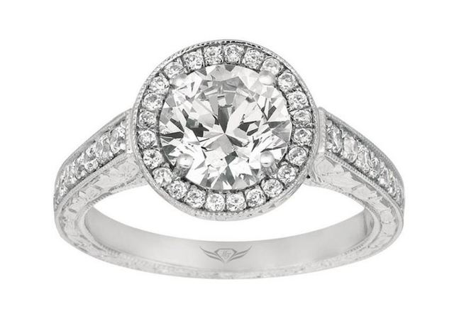 Martin Flyer Hand Engraved Vintage Style Engagement Ring image 2
