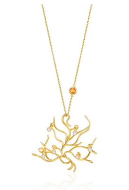 Beauty and the Beast Tree of Life Branch Pendant in yellow gold image 2