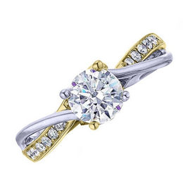 Frederic Sage Two Tone Twisted Engagement Ring image 2