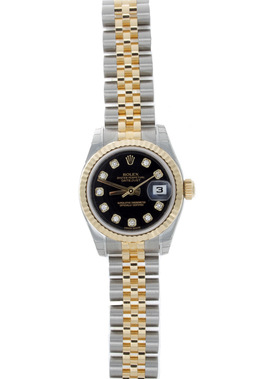 Rolex Pre - Owned Ladies Datejust with Black Diamond Dial  image 2