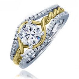 Fredric Sage Gold Twist and Diamond Engagement Ring image 2