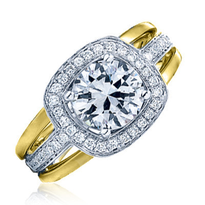 Frederic Sage Two Tone Wide Diamond Halo Engagement Ring image 2