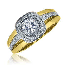 Frederic Sage Two Tone With Diamond Halo Engagement Ring image 2