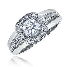 Frederic Sage White Gold With Diamond Halo Engagement Ring image 2