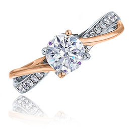 Frederic Sage Two Tone Rose Gold Twisted Engagement Ring image 2