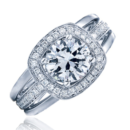 Frederic Sage White Gold Wide Diamond Halo Engagement Ring image 2