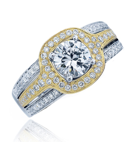 Frederic Sage Yellow Gold Halo Center Diamond Engagement Ring image 2