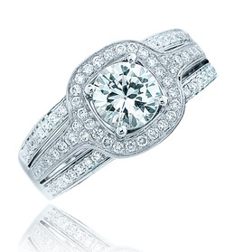 Frederic Sage White Gold Halo Center Diamond Engagement Ring image 2